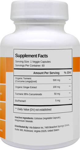 turmeric and ginger bottle supplement facts