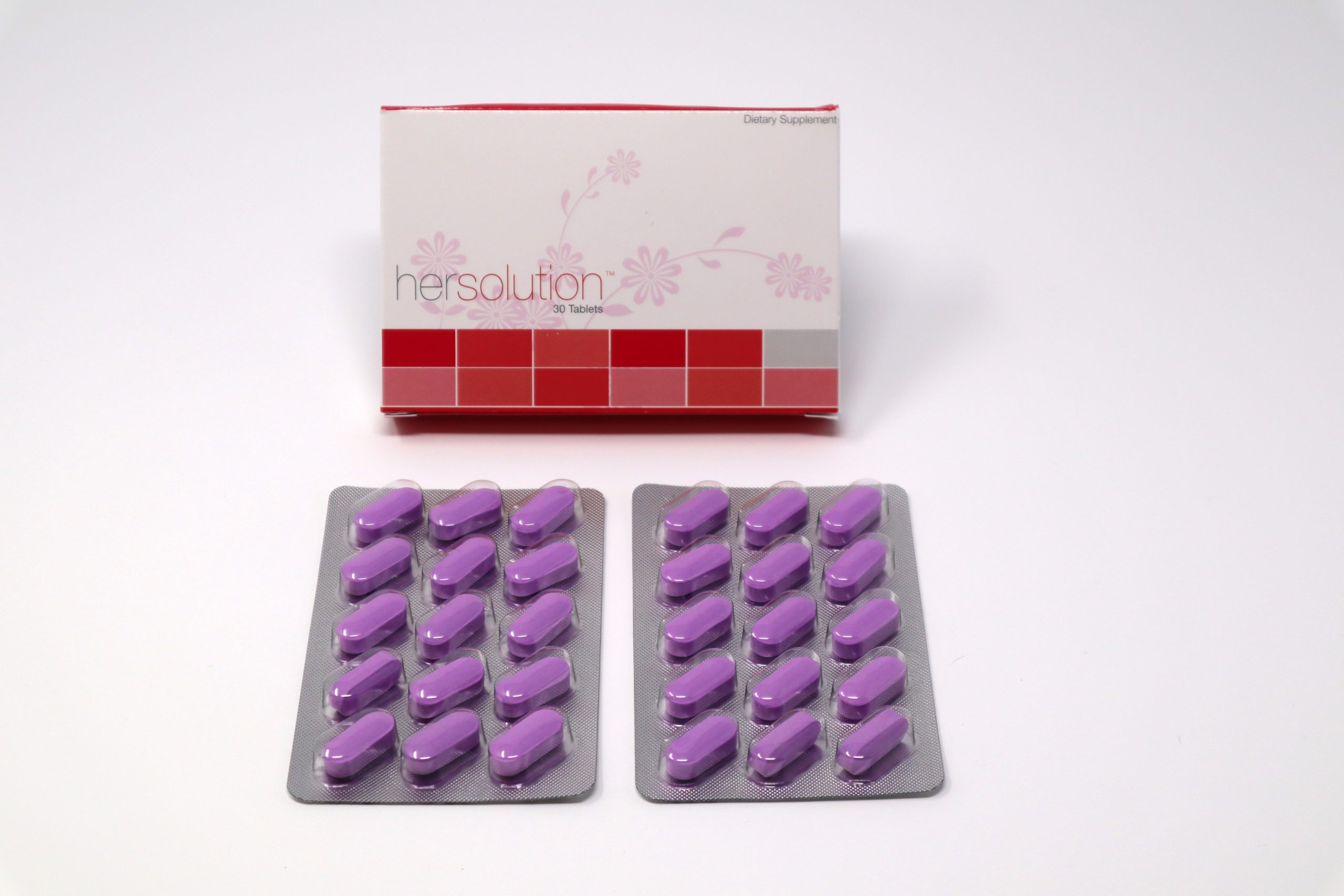 image of hersolution box and purple supplement pills